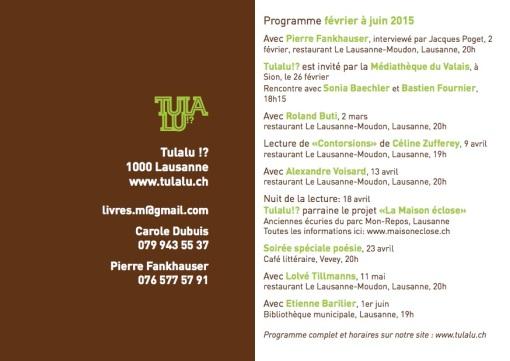 Programme de février à juin 2015
