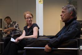 Isabelle Falconnier, déléguée à la politique du livre de Lausanne, et l'auteur Etienne Barilier © Sandra Hildebrandt