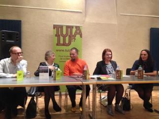 Table ronde Premier roman avec André Ourédnik, Luce Wilquin, Pierre Fankhauser (animateur), Sylvie Blondel et Sophie Colliex © Virginie Tacchini